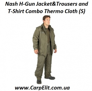 Nash H-Gun Jacket&Trousers and T-Shirt Combo Thermo Cloth (S)