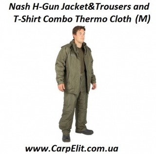 Nash H-Gun Jacket&Trousers and T-Shirt Combo Thermo Cloth (M)