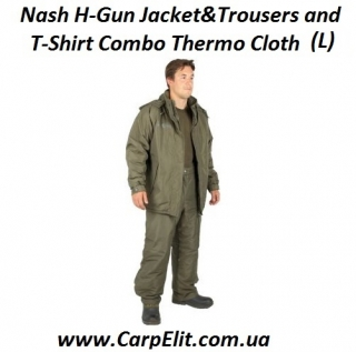 Nash H-Gun Jacket&Trousers and T-Shirt Combo Thermo Cloth (L)