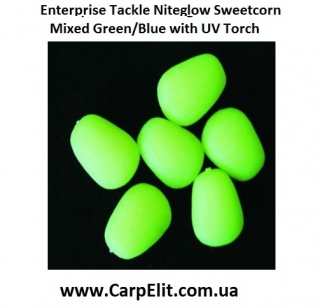 Enterprise Tackle Niteglow Sweetcorn Mixed Green/Blue with UV Torch