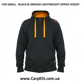 FOX SMALL - BLACK & ORANGE LIGHTWEIGHT ZIPPED HOODY