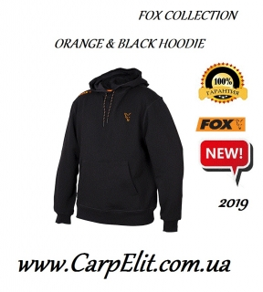 Толстовка Fox Collection Orange and Black Hoodie